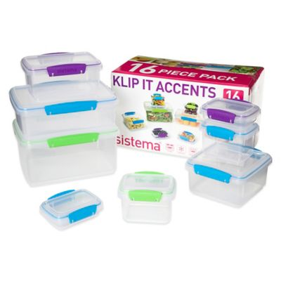 Sistema® KLIP IT® 16-Piece Accents Food Storage Container Set