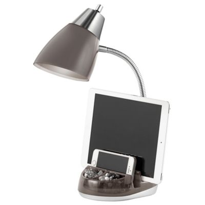 Equip Your Space CFL Functional Tablet Organizer Desk Lamp in Charcoal Grey