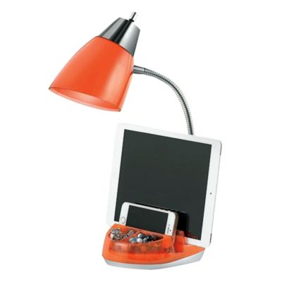 Equip Your Space Tablet Organizer CFL Desk Lamp in Red Orange