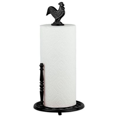 Home Basics® Rooster Paper Towel Holder in Black