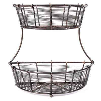 Mesa Bobbin Collection Flat Back 2-Tier Basket