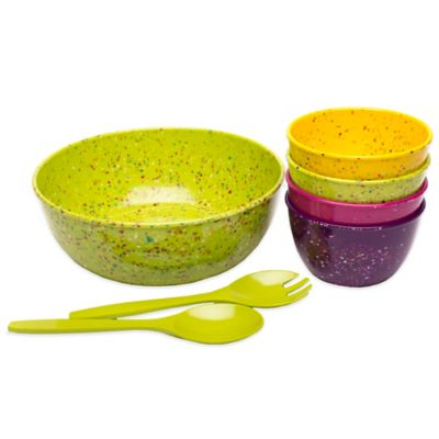 Zak! Designs® 7-Piece Confetti Salad Serving Set in Red
