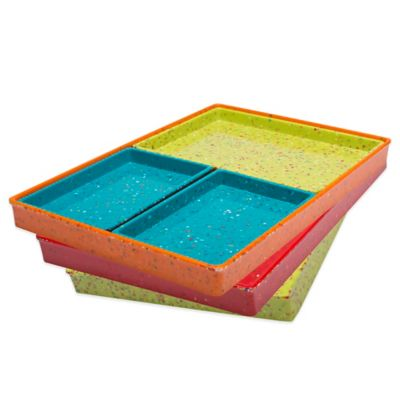 Zak! Designs® Confetti Modular 4-Piece Serve Tray Set in Red/Yellow