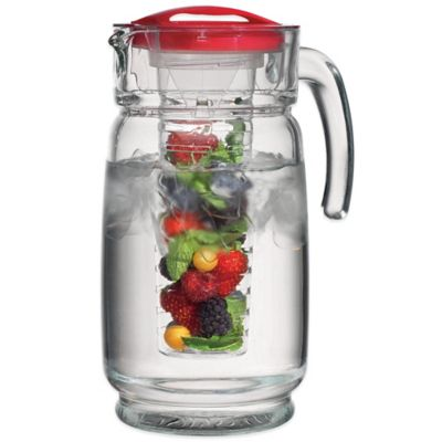 Clear Red Glass Pitcher
