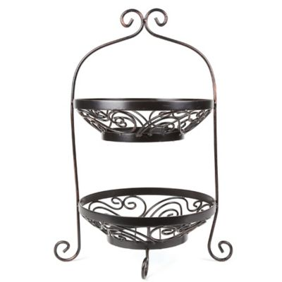 Mesa Brand & Scroll Collection 2-Tier Basket