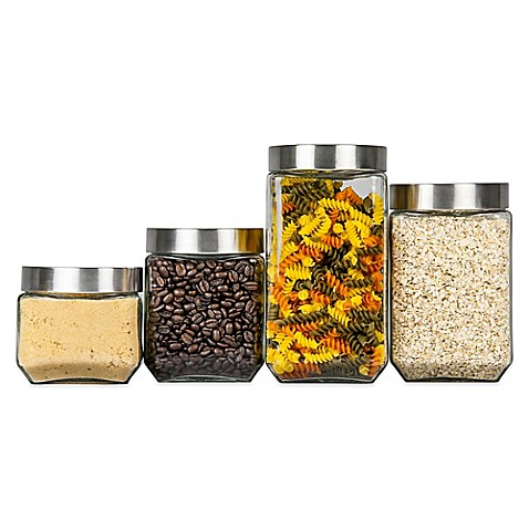 buy home basics 174 4 piece glass square canister set from square canister 1800l wholesale kitchen miscellaneous