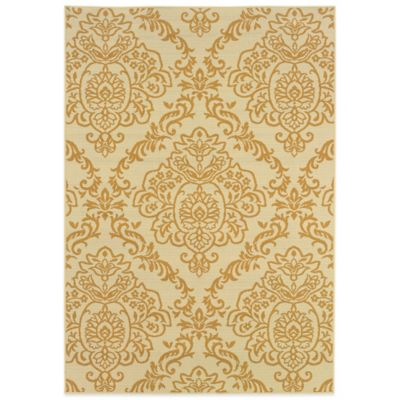 Oriental Weavers Bali Damask 6-Foot 7-Inch x 9-Foot 6-Inch Indoor/Outdoor Rug in Ivory/Gold
