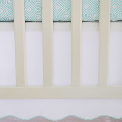 Oliver B Scallop Crib Skirt in White/Sea Green