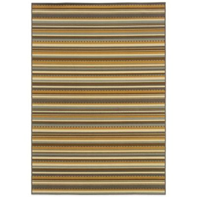 Oriental Weavers Bali Stripe 6-Foot 7-Inch x 9-Foot 6-Inch Indoor/Outdoor Rug in Grey/Gold