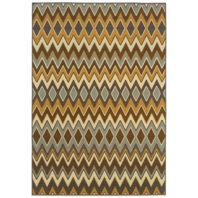 Oriental Weavers Bali Chevron 6-Foot 7-Inch x 9-Foot 6-Inch Indoor/Outdoor Rug in Gold