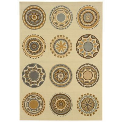 Oriental Weavers Bali Circles 6-Foot 7-Inch x 9-Foot 6-Inch Indoor/Outdoor Rug in Ivory/Grey