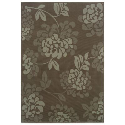 Oriental Weavers Bali Floral 5-Foot 3-Inch x 7-Foot 6-Inch Indoor/Outdoor Rug in Grey/Blue