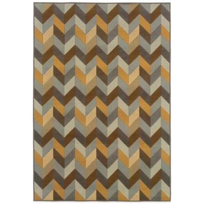Oriental Weavers Bali Geometric Chevron 6-Foot 7-Inch x 9-Foot 6-Inch Rug in Grey/Gold
