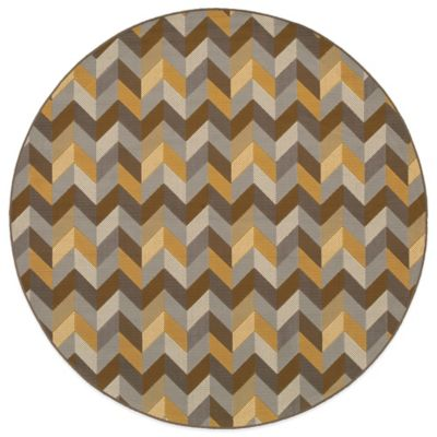 Oriental Weavers Bali Geometric Chevron 7-Foot 10-Inch Round Rug in Grey/Gold