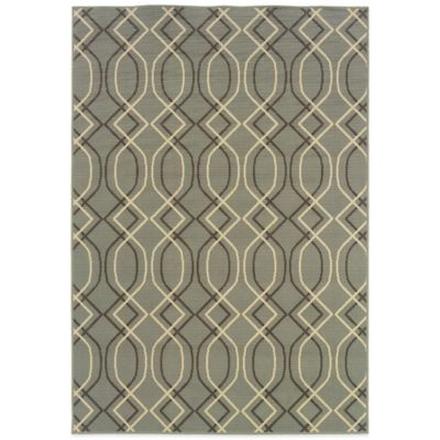 Oriental Weavers Bali Geometric 6-Foot 7-Inch x 9-Foot 6-Inch Indoor/Outdoor Rug in Ivory/Grey