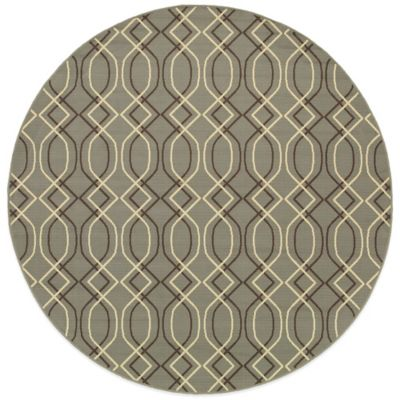 Oriental Weavers Bali Geometric 7-Foot 10-Inch Round Indoor/Outdoor Rug in Ivory/Grey