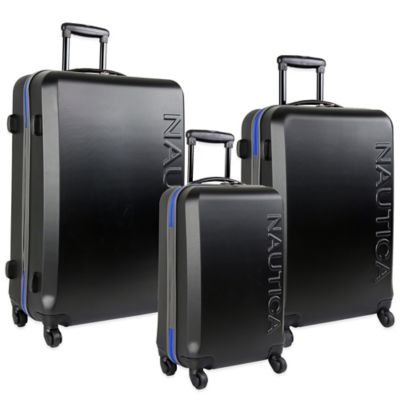 Nautica® Ahoy 3-Piece Hardside Spinner Luggage Set in Black/Blue
