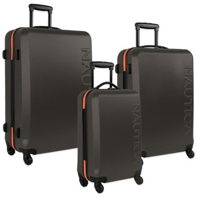 Nautica® Ahoy 3-Piece Hardside Spinner Luggage Set in Grey/Orange