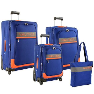 Nautica® Rhumbline 4-Piece Luggage Set in Navy/Orange