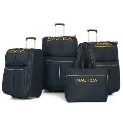 Nautica® Maritime II 4-Piece Expandable Rolling Luggage Set in Grey/Orange