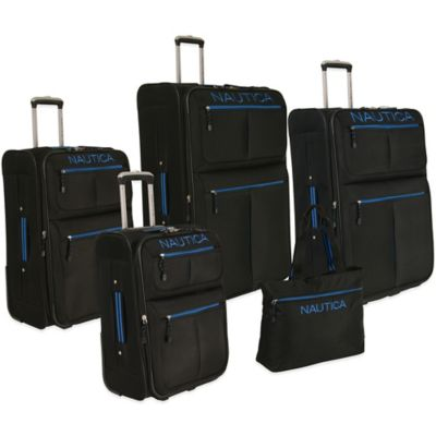 Nautica® Maritime II 5-Piece Expandable Rolling Luggage Set in Black/Blue