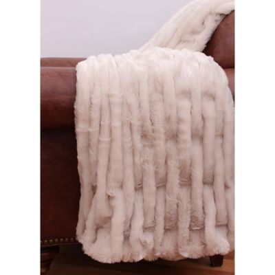 Thro Josephine Faux-Fur Throw in Hummus