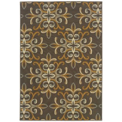 Oriental Weavers Bali Filigree 6-Foot 7-Inch x 9-Foot 6-Inch Indoor/Outdoor Rug in Grey/Gold