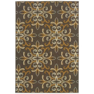 Oriental Weavers Bali Filigree 6-Foot 7-Inch x 9-Foot 6-Inch Indoor/Outdoor Rug in Grey/Gold