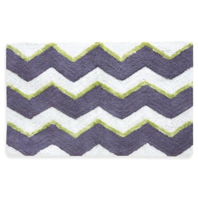 Jessica Simpson 21-Inch x 34-Inch Zig Bath Rug in Celery Green/Dusk Purple