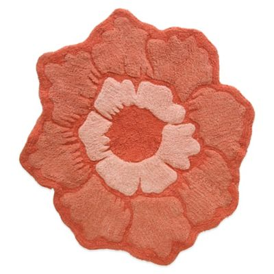 Jessica Simpson 26-Inch x 28-Inch Peony Bath Rug in Burnt Coral