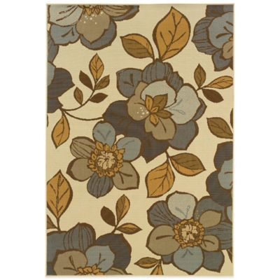 Oriental Weavers Bali Flowers 8-Foot 6-Inch x 13-Foot Indoor/Outdoor Rug in Ivory/Grey
