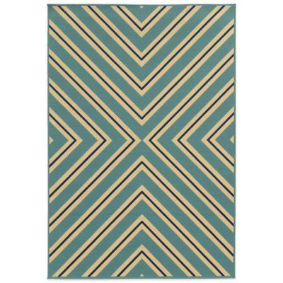Oriental Weavers Riviera Criss Cross 5-Foot 3-Inch x 7-Foot 6-Inch Rug in Light Blue