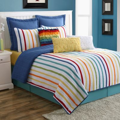 Fiesta® Baja Stripe Reversible King Quilt Set in Multi
