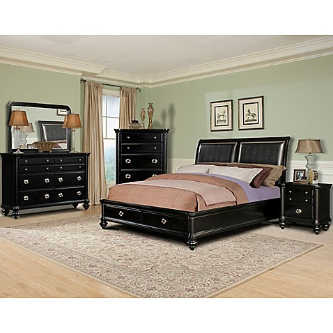 buy klaussner danbury 5 piece queen bedroom set in black from bed bath