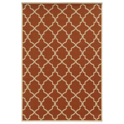 Oriental Weavers Riviera Trellis 1-Foot 9-Inch x 3-Foot 9-Inch Indoor/Outdoor Rug in Orange