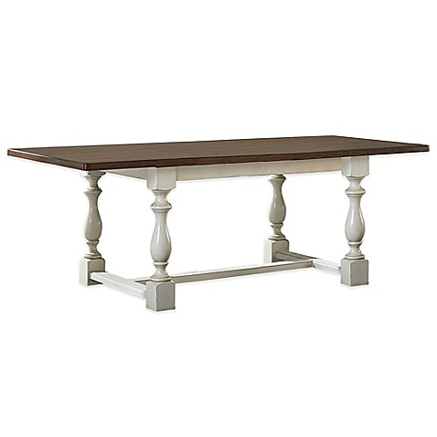 Hillsdale Pine Island Dining Room Trestle Table In Old White Bed Bath