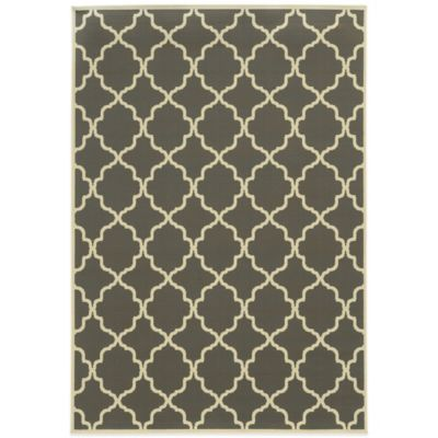 Oriental Weavers Riviera Trellis 8-Foot 6-Inch x 13-Foot Indoor/Outdoor Rug in Light Blue