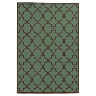 Oriental Weavers Riviera Trellis 6-Foot 7-Inch x 9-Foot 6-Inch Indoor/Outdoor Rug in Blue/Brown