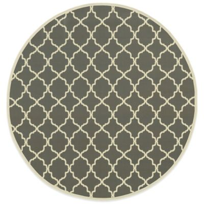 Oriental Weavers Riviera Trellis 7-Foot 10-Inch Round Indoor/Outdoor Rug in Grey
