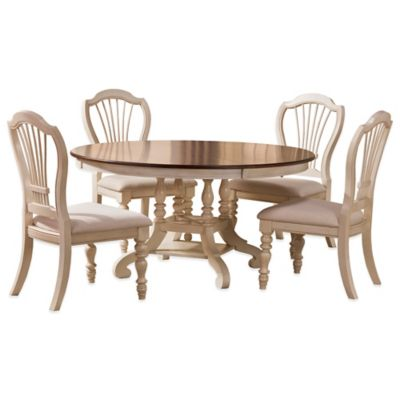 Hillsdale Pine Island 7-Piece Round Dining Set with Wheat Back Chairs in Old White