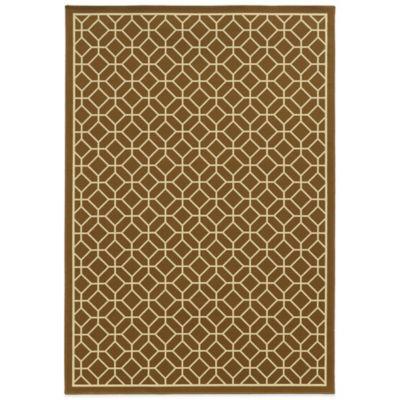 Oriental Weavers Riviera Honeycomb 5-Foot 3-Inch x 7-Foot 6-Inch Indoor/Outdoor Rug in Brown