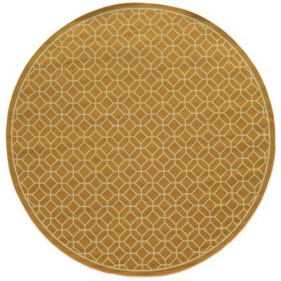 Oriental Weavers Riviera Honeycomb 7-Foot 10-Inch Round Indoor/Outdoor Rug in Gold