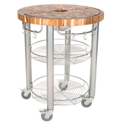 Chris & Chris Pro Stadium 30-Inch Round Kitchen Island Work Station in Natural