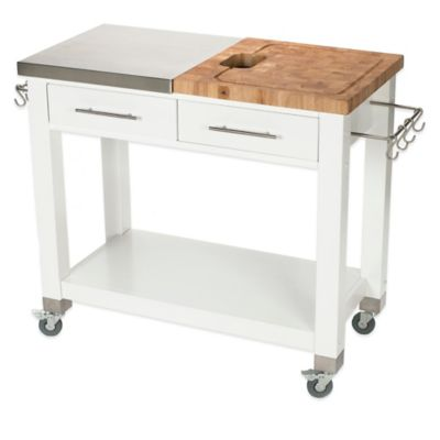 Chris & Chris Pro Chef 20-Inch Kitchen Island Work Station in White