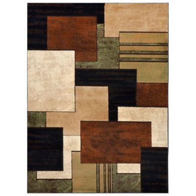 Tribeca Heat Set Box 5-Foot 3-Inch x 7-Foot 2-Inch Area Rug in Brown/Green