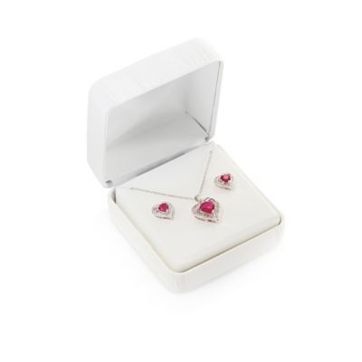 Sterling Silver Created Ruby and Created White Sapphire Heart Pendant and Earrings Box Set