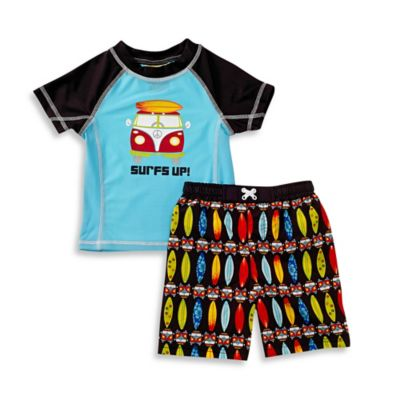 "Baby Buns Size 4T 2-Piece ""Surf's Up"" Rashguard Set in Blue/Black"