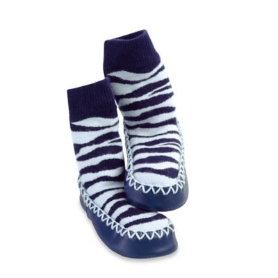 Sock Ons® Mocc Ons® Size 6-12M Zebra Stripe Slipper Socks in Navy