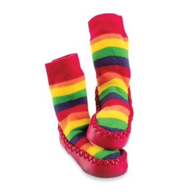 Sock On® Mocc On® Size 6-12M Rainbow Stripe Slipper Socks in Multi
