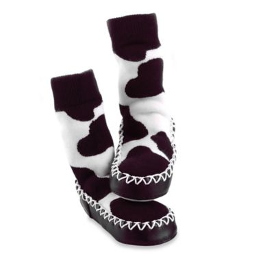 Sock Ons® Mocc Ons® Size 12-18MCow Print Slipper Socks in Brown/White